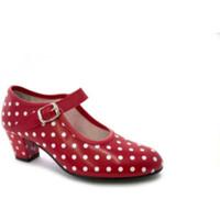 Zapatos Mujer Zapatos de tacón Danka Zapato baile sevillanas flamenco lunares blancos para niña o muj rojo