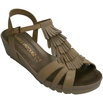 Zapatos Mujer Sandalias Pomares Vazquez Sandalia mujer de tiras con adornos de flecos beige