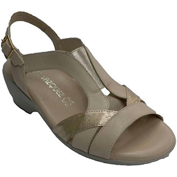 Zapatos Mujer Sandalias Pomares Vazquez Sandalia mujer tiras con elástico en el beige