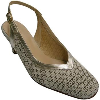 Zapatos Mujer Zapatos de tacón Pomares Vazquez Zapato mujer abierto atrás simula zapato calado reborde en champ beige