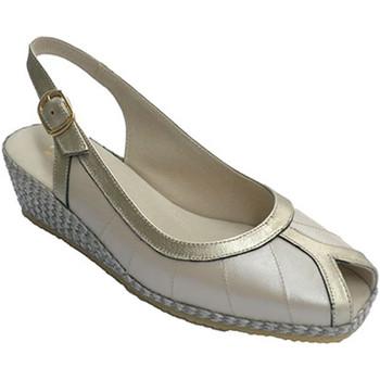 Zapatos Mujer Sandalias Festival Sandalia combinada en metalizado los bordes yel borde de los ded beige