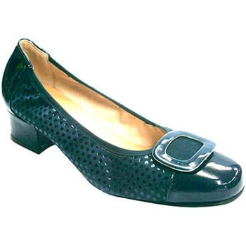 Zapatos Mujer Zapatos de tacón Roldán Manoletinas combinada charol y nobuk azul