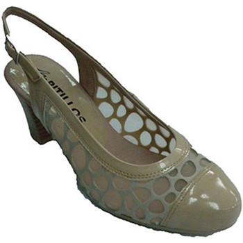 Zapatos Mujer Zapatos de tacón Pitillos Zapato mujer abierto atrás con lunares d beige