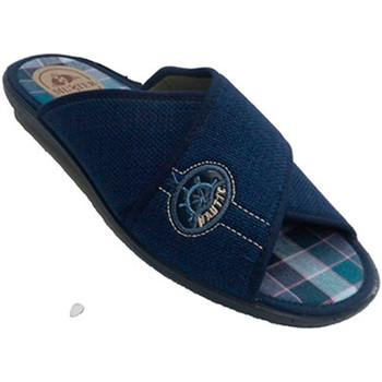 Zapatos Hombre Zuecos (Mules) Muñoz Y Tercero Chancla estar en casa hombre tiras cruzadas azul
