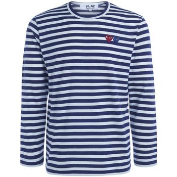textil Hombre Camisetas manga larga Comme Des Garcons Camiseta  de rayas con doble cursor Azul