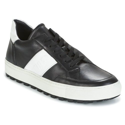 Zapatos Hombre Zapatillas bajas Bikkembergs TRACK-ER 966 LEATHER Negro / Blanco