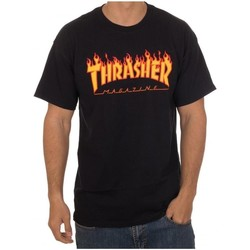 textil Hombre camisetas manga corta Thrasher TSTHRFLA-BLA Negro