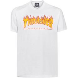 textil Hombre camisetas manga corta Thrasher TSTHRFLA-WHT Blanco