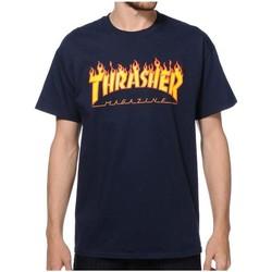 textil Hombre camisetas manga corta Thrasher TSTHRFLA-NAV Azul