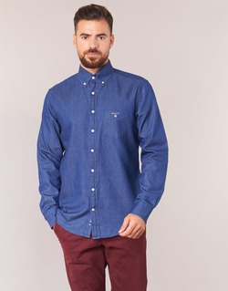 textil Hombre camisas manga larga Gant THE INDIGO SHIRT Azul