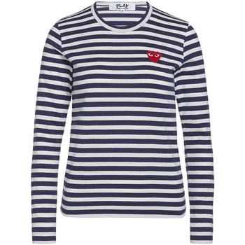 textil Mujer Camisetas manga larga Comme Des Garcons T-shirt Play by Comme des Garçons azul con rayas blancas Azul