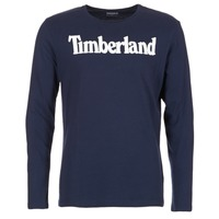 textil Hombre Camisetas manga larga Timberland LINEAR LOGO PRINT RINGER Marino