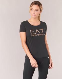 textil Mujer camisetas manga corta Emporio Armani EA7 TRAIN LOGO SERIES GLITTER Negro / Dorado / Rosa