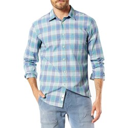 textil Hombre camisas manga larga Dockers LAUNDERED POPLIN LS HARRINGTON Azul