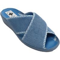Zapatos Mujer Pantuflas Nevada Chancla mujer tiras cruzadas abiertas pu azul