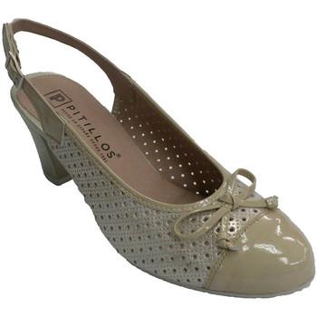 Zapatos Mujer Zapatos de tacón Pitillos Zapato mujer abierto por detrás combinado con charol beige