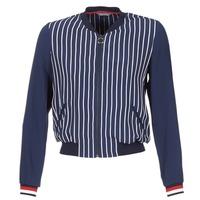 textil Mujer Chaquetas / Americana Tommy Hilfiger NALOME GLOBAL STP BOMBER Marino / Blanco / Rojo