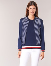 textil Mujer Chaquetas / Americana Tommy Hilfiger NALOME GLOBAL STP BOMBER Marino / Blanco / Rojo
