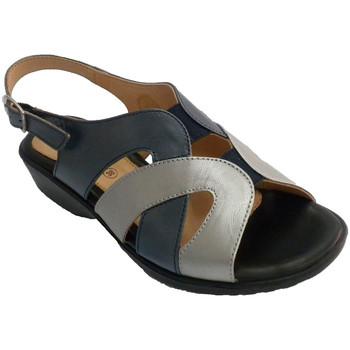 Zapatos Mujer Sandalias Doctor Cutillas Sandalia mujer tonos marino y metal muy cómoda azul