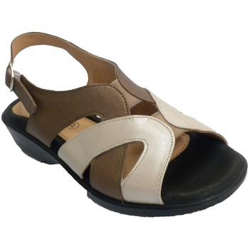 Zapatos Mujer Sandalias Doctor Cutillas Sandalia mujer tonos beig y marrones muy azul
