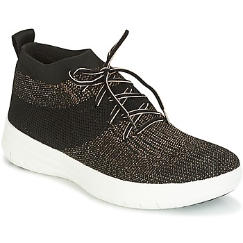 Zapatos Mujer Zapatillas altas FitFlop UBERKNIT SLIP-ON HIGH TOP SNEAKER Negro / Bronce