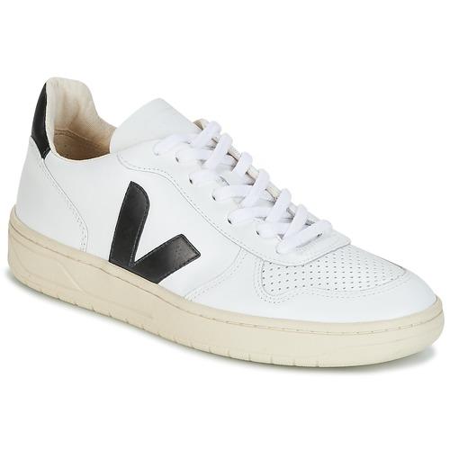 Zapatos especiales para hombres y mujeres Veja V-10 Blanco / Negro