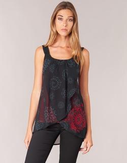 textil Mujer camisetas sin mangas Desigual MEGEC Negro / Rojo