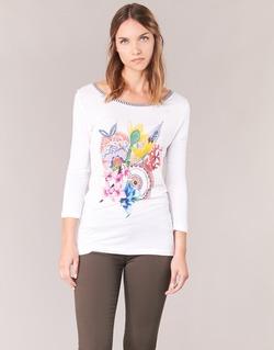 textil Mujer Camisetas manga larga Desigual TERON Blanco