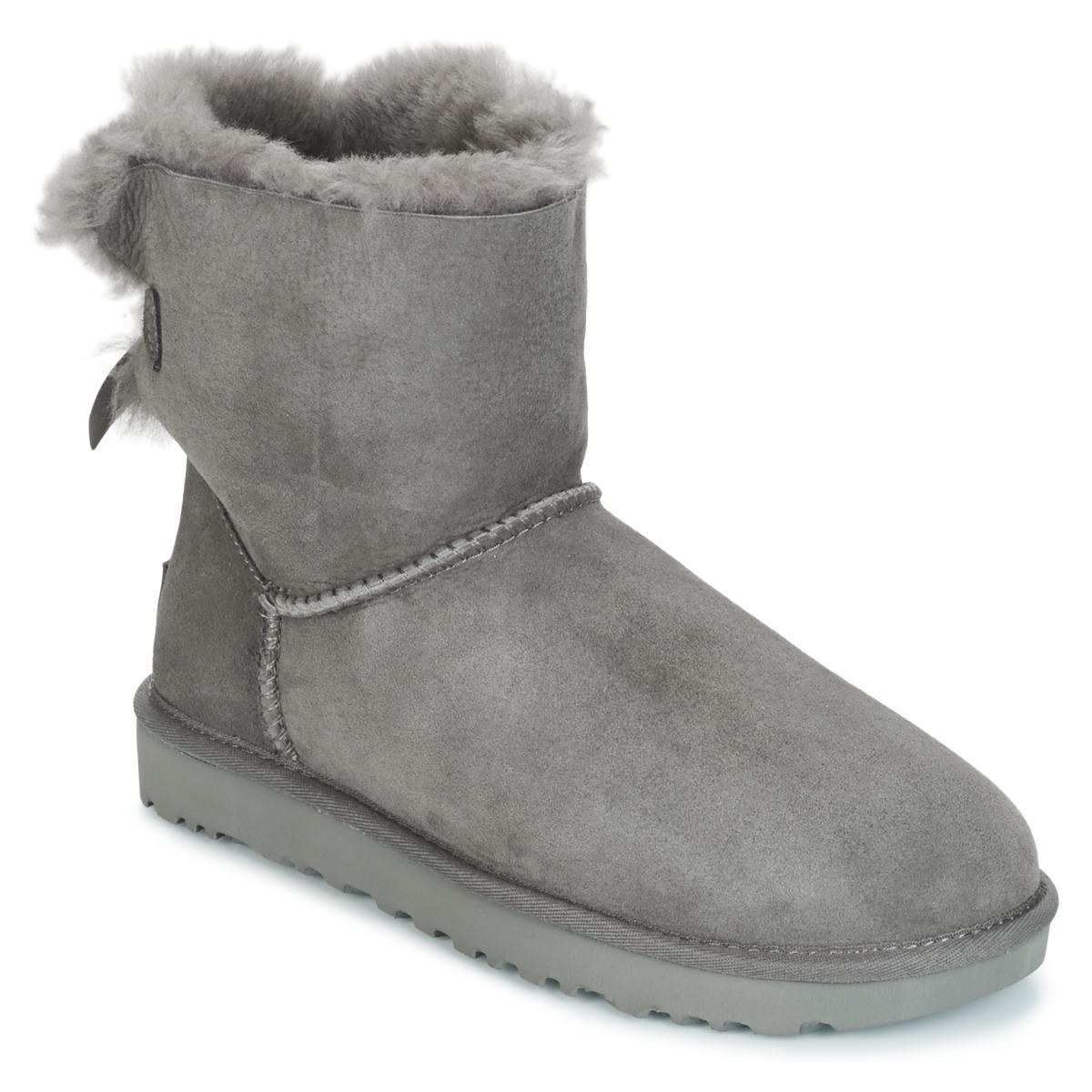 f02cc428fb2 Zapatos Mujer Botas de caña baja UGG MINI BAILEY BOW II Gris