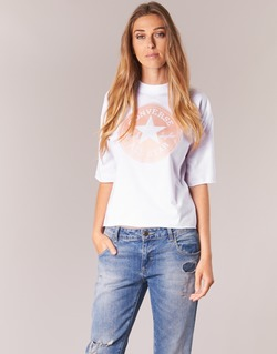 textil Mujer camisetas manga corta Converse SATIN CP MOCK NECK TEE Blanco