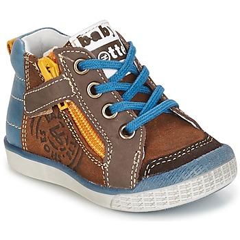 Zapatos Niño Zapatillas altas Babybotte AKRO Marrón / Azul