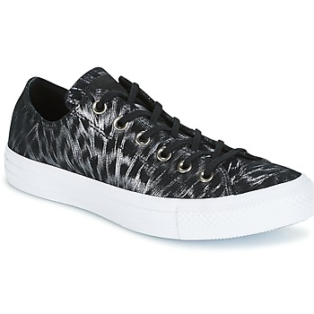 Zapatos Mujer Zapatillas bajas Converse CHUCK TAYLOR ALL STAR SHIMMER SUEDE OX BLACK/BLACK/WHITE Negro / Blanco