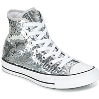 Zapatos Mujer Zapatillas altas Converse CHUCK TAYLOR ALL STAR SEQUINS HI SILVER/WHITE/BLACK Plata