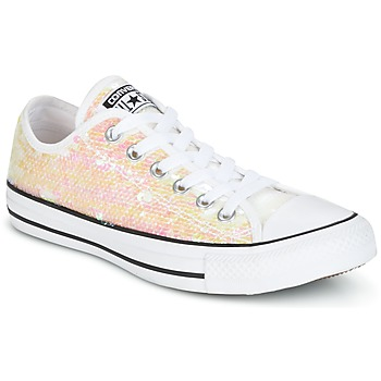 Zapatos Mujer Zapatillas bajas Converse CHUCK TAYLOR ALL STAR SEQUINS OX WHITE/BLACK/WHITE Blanco / Brillantinas