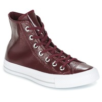 Zapatos Mujer Zapatillas altas Converse CHUCK TAYLOR ALL STAR CRINKLED PATENT LEATHER HI DARK SANGRIA/DA Burdeo / Blanco