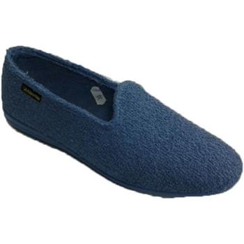 Zapatos Mujer Pantuflas Made In Spain 1940 Zapatilla de estar en casa toalla plana azul