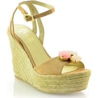 Zapatos Mujer Sandalias Mtbali Sandalia Alpargata con cuña, Mujer - Modelo Elegance beige