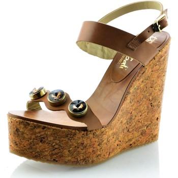 Zapatos Mujer Sandalias Mtbali Sandalia de Corcho con cuña, Mujer - Modelo Diamond marrón