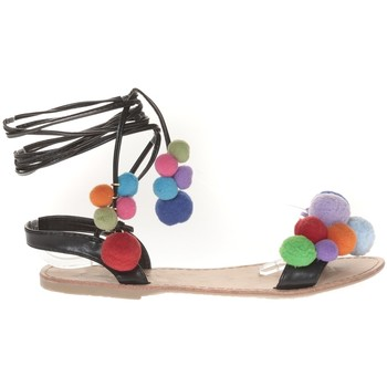 Zapatos Mujer Sandalias Vera & Lucy Sandale Noir avec pompons 900-2 Negro