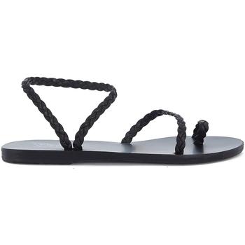 Zapatos Mujer Sandalias Ancient Greek Sandals Sandalia  Eleftheria en piel negra entrelazada Negro