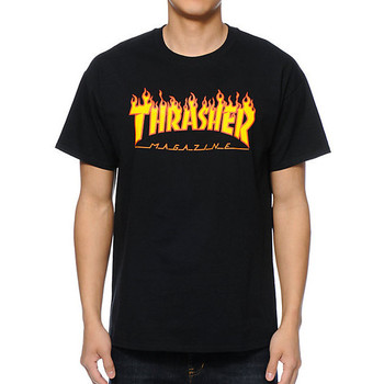 textil Hombre camisetas manga corta Thrasher Camiseta  Flame Logo Black Yellow multicolor