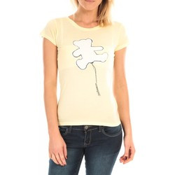 textil Mujer Camisetas manga corta LuluCastagnette T-Shirt Pics Printe Ours Jaune Amarillo