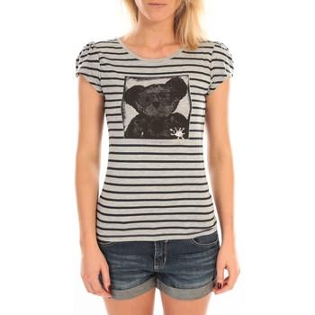 textil Mujer Camisetas manga corta LuluCastagnette T-Shirt Liss Rayure Gris Gris