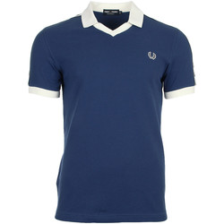 textil Hombre polos manga corta Fred Perry Taped Pique Shirt Snow White Azul