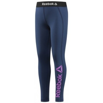 textil Niños leggings Reebok Sport MALLAS  GIRLS ESSENTIAL POLYESTER BIG LOGO LEGGING AZUL MARINO