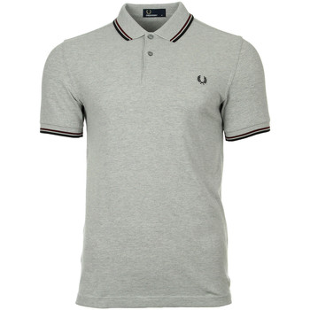 textil Hombre polos manga corta Fred Perry Twin Tipped  Steel Oxford Port Black Gris