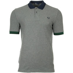 textil Hombre polos manga corta Fred Perry Colour Block Pique Shirt Grey Marl Gris