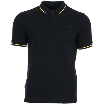 textil Hombre polos manga corta Fred Perry Twin Tipped Shirt Navy Soft Yellow Azul