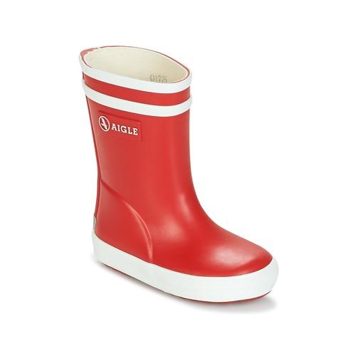 Zapatos Niños Botas de agua Aigle BABY FLAC Rojo / Blanco