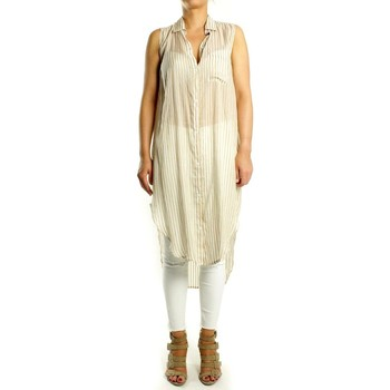 textil Mujer Tops / Blusas Mes Demoiselles Camisa  Common Rayas Beige Hueso
